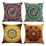 Gspirit 4 Pack Retro Mandala Bohemia Algodón Lino Throw Pillow Case Funda de Almohada para Cojín...