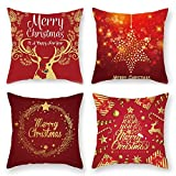 Fundas de Almohadas Navideñas, MOPOIN 4 Pieza Fundas Cojines 45x45 Cojines Sofa Merry Christmas...